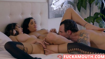 a very busty threesome