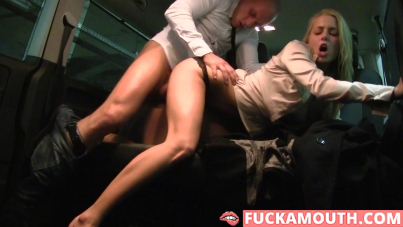 babe in sexy pantyhose gets fucked on the backseat