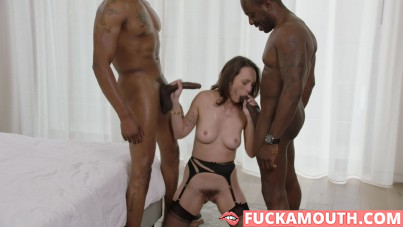 Jade Nile has threesome with monster cocks