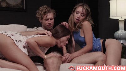 threesome and creampie eating